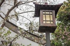 Lampione di legno elettrico d'annata Fotografia Stock