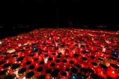 Lampions brûlants dans l'obscurité Photos libres de droits