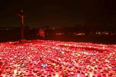 Lampions illuminating cemetery Royalty Free Stock Photography