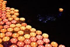Lampions on water during Seoul Lantern Festival, Cheonggyecheon Stream, Seoul, Korea royalty free stock image