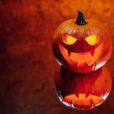 Lampionu dyniowy pomarańczowy światło, Halloweenowy tło zdjęcia royalty free