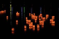 Lampiony na rzece Arashiyama, Kyoto Japonia Zdjęcie Stock