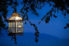 Lampiony wiesza od drzew dekorować przy zmierzch ptasią klatką Fotografia Stock