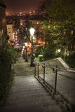 Lamplight, cafes and steep steps Royalty Free Stock Images
