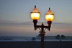 Lamplight by the Pier. Lamplight at the pier in California Royalty Free Stock Photos