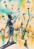 Lamplighter. Lights a street gas lamps. Picture created with watercolors Stock Images