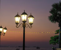 Lamplights on the beach Royalty Free Stock Photos
