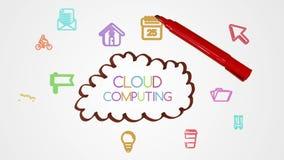 Lampo di genio di calcolo della nuvola del disegno della mano con i apps di scarabocchio stock footage