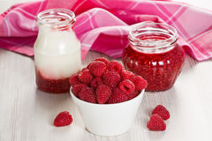 Lampone, yogurt ed inceppamento Fotografie Stock Libere da Diritti