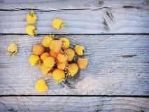 Lamponi gialli su fondo di legno rustico con spazio per testo Fotografia Stock