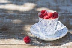 Lamponi maturi freschi e una vecchia tazza della porcellana con un piattino su una tavola di legno nel giardino Immagine Stock