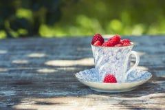 Lamponi maturi freschi e una vecchia tazza della porcellana con un piattino su una tavola di legno nel giardino Fotografia Stock Libera da Diritti