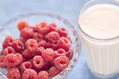 Lamponi sugosi freschi e un vetro di latte Immagini Stock Libere da Diritti