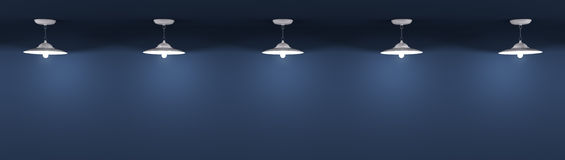 Lampor över den blåa väggbakgrunden 3d framför vektor illustrationer