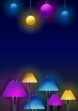 Lampor - design för klubba- & stångstrålkastarebakgrund stock illustrationer