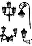 Lampor för gammal stil för gata och för trädgård vektor illustrationer