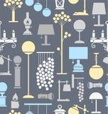 Lampor för hemmet och trädgården, bakgrund som är sömlös, grå färg royaltyfri illustrationer