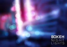 Lampor för Bokeh vektornatt Royaltyfri Foto