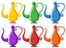 Lampor i sex olika färger stock illustrationer