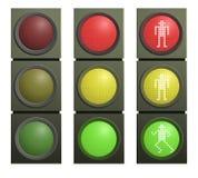 lampor inställd trafikvektor royaltyfri illustrationer