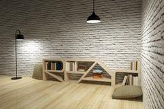 Lampor med bokhyllan på den trägolv och tegelstenväggen stock illustrationer