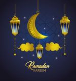 Lampor med moln och månen som hänger till ramadan kareem royaltyfri illustrationer