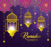 Lampor med stjärnor som hänger till ramadan kareem vektor illustrationer