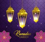 Lampor som hänger med geometriska blommor till ramadan kareem vektor illustrationer