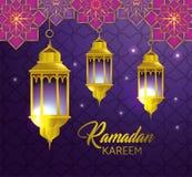 Lampor som hänger med geometriska blommor till religionfestivalen stock illustrationer
