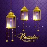 Lampor som hänger med stjärnor till ramadan kareem vektor illustrationer