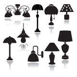 Lampor ställde in symboler - illustration Royaltyfri Fotografi
