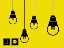 Lampor, strömbrytare och hålighet royaltyfri illustrationer