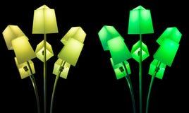 Lampor under lightshowglöd Arkivfoton