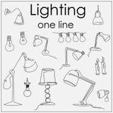 Lampor vid en dragen enkel linje royaltyfri illustrationer