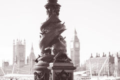 Lampost with Big Ben and the Houses of Parliament, Westminster, Royalty Free Stock Image