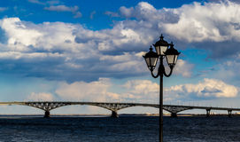 Lampost and Bridge Royalty Free Stock Image