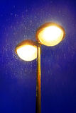 Lampost at night with rain Stock Photo
