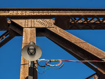Lampost on a Rusted Steel Train bridge Stock Images