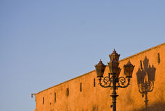 Lampost and shadow. In Marrakech, Morocco Stock Images