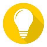 Lampowa ikona, żarówki ikona z długim cieniem Obrazy Stock