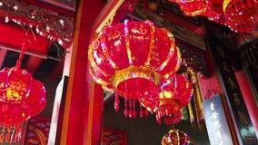 Lampporslin Guan Yu Shrine i bangkok, thaikand stock video
