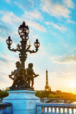 Lamppost at the Alexander III bridge in Paris Royalty Free Stock Photos