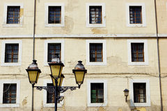 LAMPPOST IN A ASTURIAN SQUARE. SQUARE WITH EVENING LIGHT IN A SPRING DAY Stock Photo