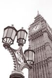 Lamppost and Big Ben at Westminster, London. In Black and White Sepia Tone Stock Image