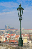 Lamppost on Charles Bridge,Prague castle view Royalty Free Stock Photos
