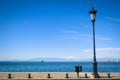 A lamppost by the coastline. In Thessaloniki Stock Photography