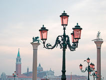 Lamppost and column in San Marco Stock Photo