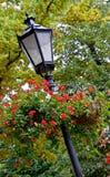 Lamppost con las cestas colgantes Fotografía de archivo
