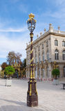 Lamppost decorated, Stanislas Square, Nancy, France. Place Stanislas in Nancy, Lorraine, France - UNESCO World Heritage Site Stock Image