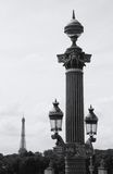 Lamppost and Eiffel Tower in the distance. Paris Stock Photography